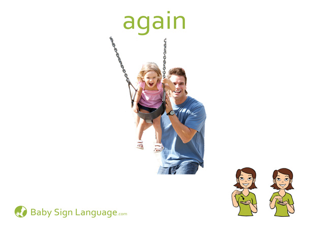 Again Baby Sign Language Flash card