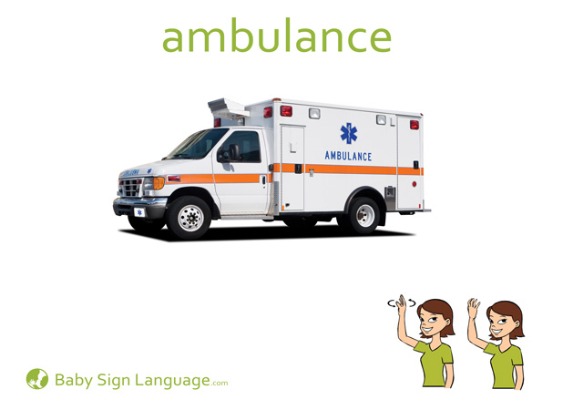 Ambulance Baby Sign Language Flash card