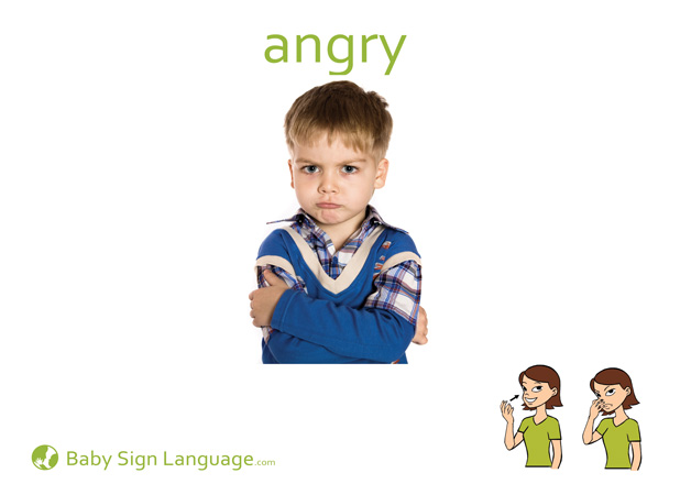 Angry Baby Sign Language Flash card