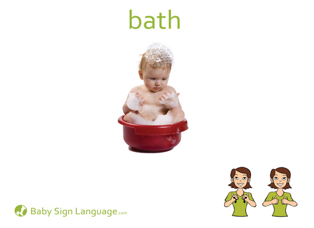Bath Baby Sign Language Flash card
