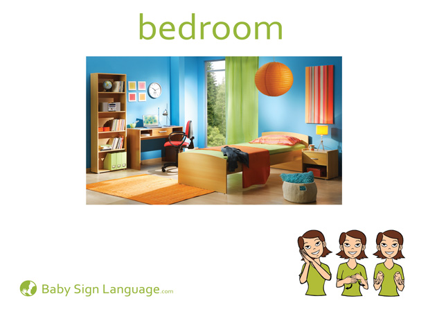 Bedroom Baby Sign Language Flash card