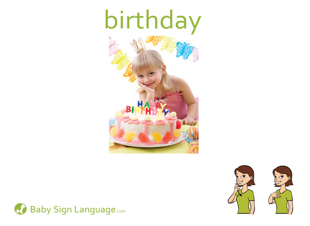 Birthday Baby Sign Language Flash card