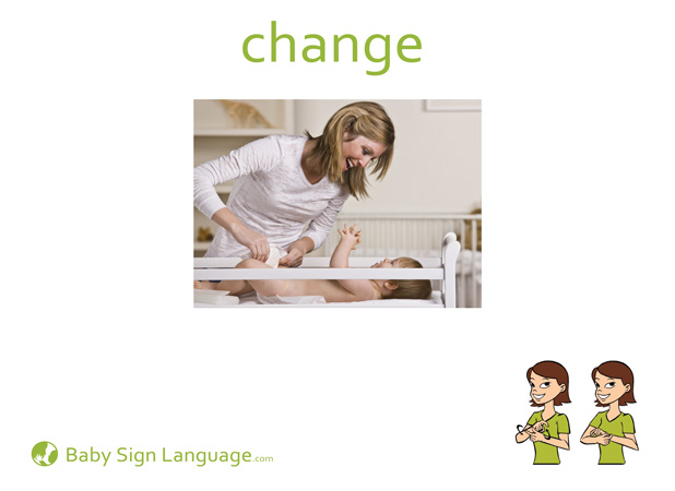 Change Baby Sign Language Flash card
