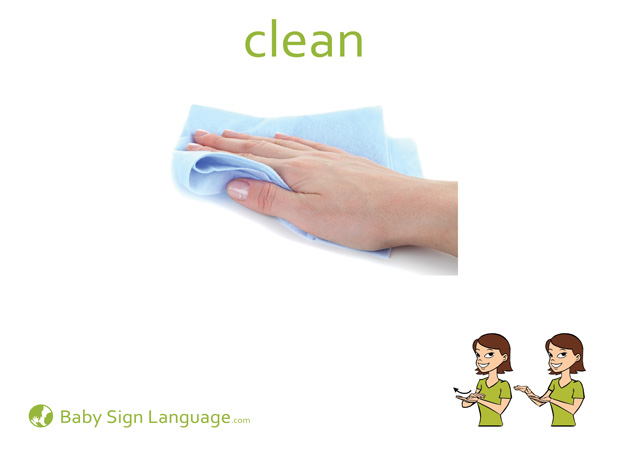 Clean Baby Sign Language Flash card