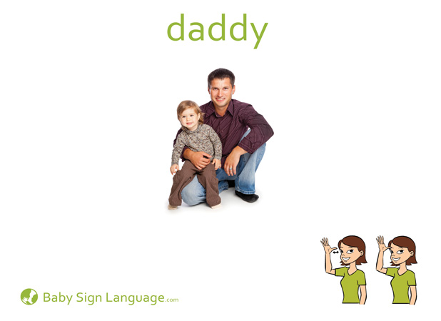 Daddy Baby Sign Language Flash card