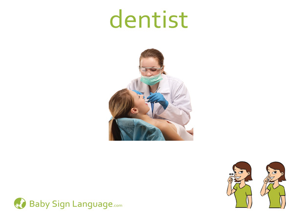 Dentist Baby Sign Language Flash card