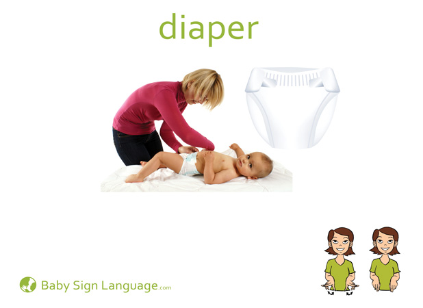 Diaper Baby Sign Language Flash card