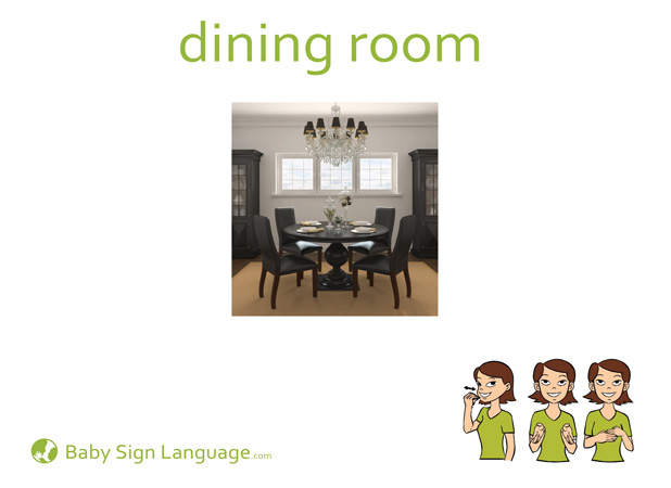 Dining Room Baby Sign Language Flash card