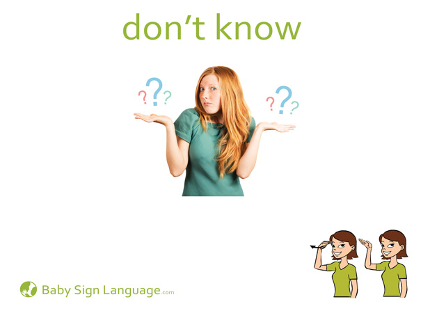Don't know Baby Sign Language Flash card