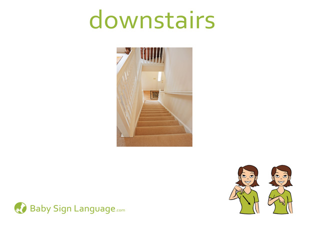 Downstairs Baby Sign Language Flash card