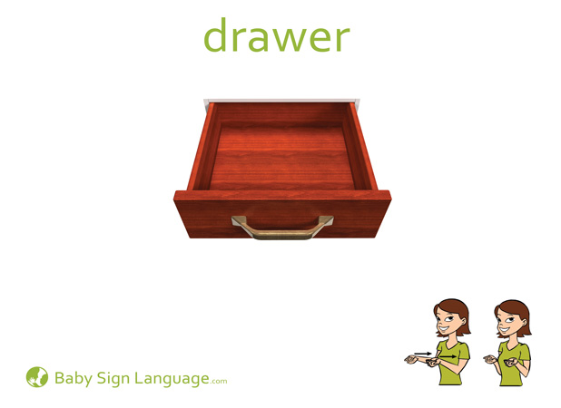 Drawer Baby Sign Language Flash card
