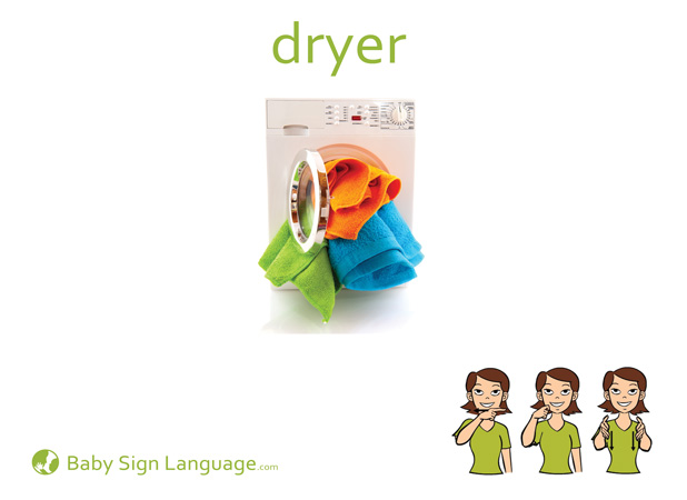 Dryer Baby Sign Language Flash card