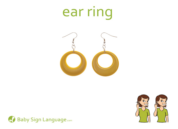 Earring Baby Sign Language Flash card
