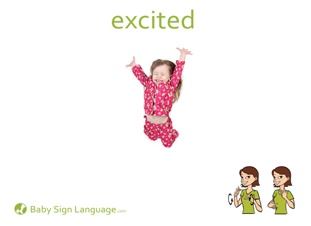 Excited Baby Sign Language Flash card