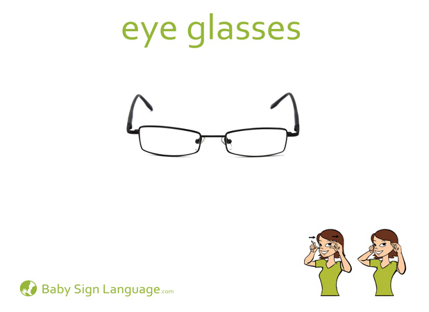 Eye Glasses Baby Sign Language Flash card