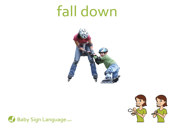 Fall Down Baby Sign Language Flash card