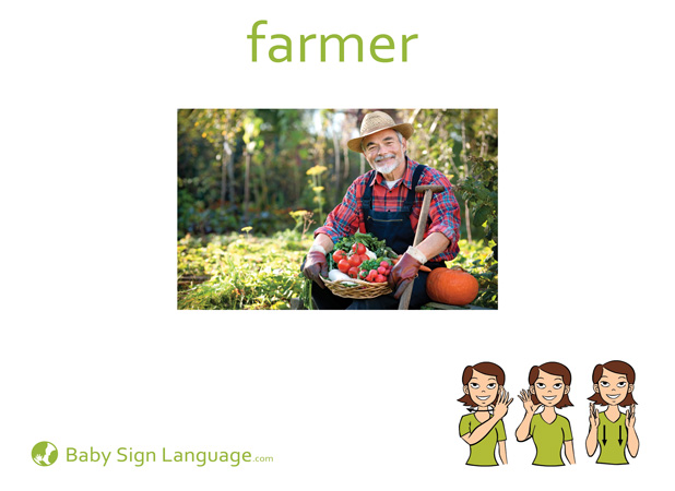Farmer Baby Sign Language Flash card