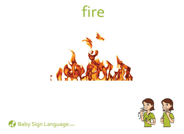 Fire Baby Sign Language Flash card
