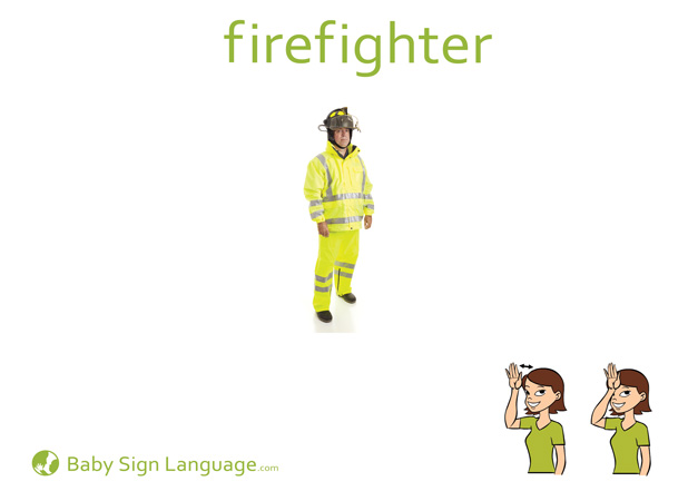 Firefighter Baby Sign Language Flash card