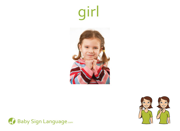 Girl Baby Sign Language Flash card