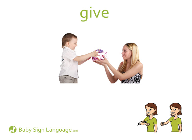 Give Baby Sign Language Flash card