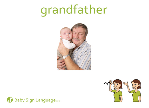 Grandfather Baby Sign Language Flash card