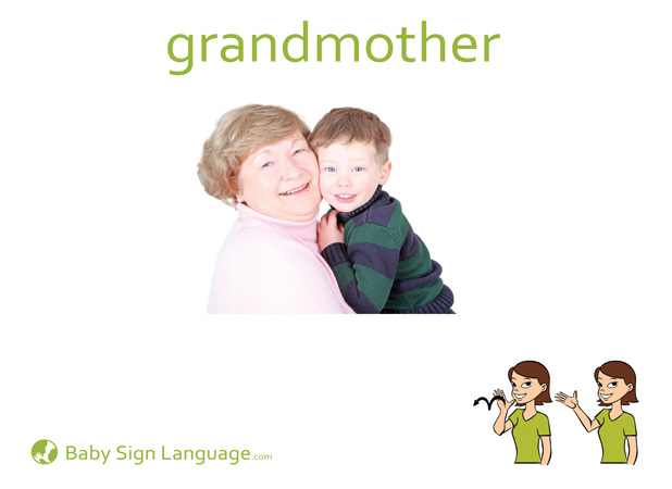 Grandmother Baby Sign Language Flash card