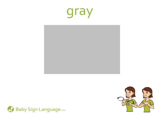 Gray Baby Sign Language Flash card