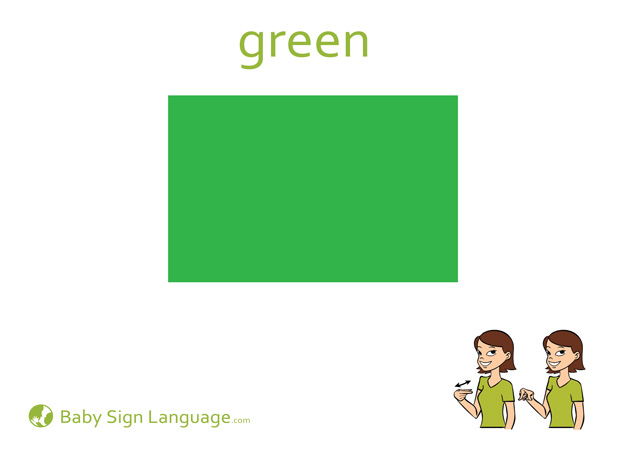 Green Baby Sign Language Flash card