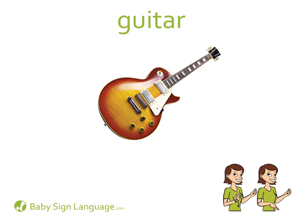 Guitar Baby Sign Language Flash card