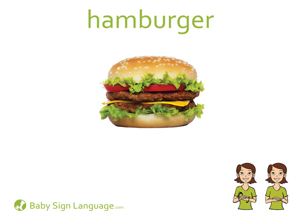 Hamburger Baby Sign Language Flash card