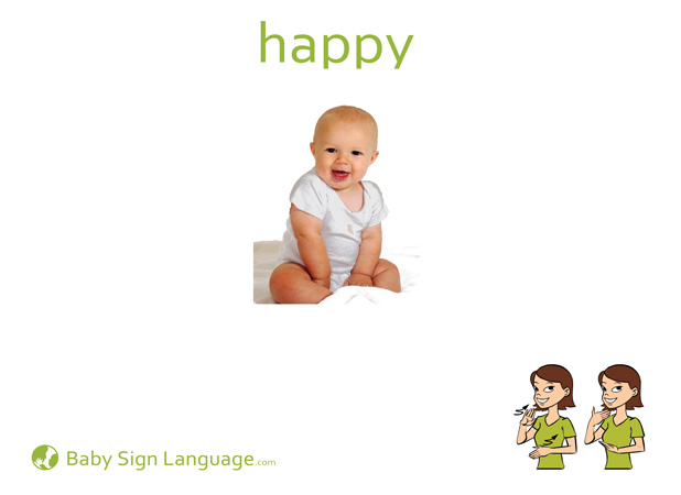 picture about Baby Sign Language Flash Cards Printable titled Joyful