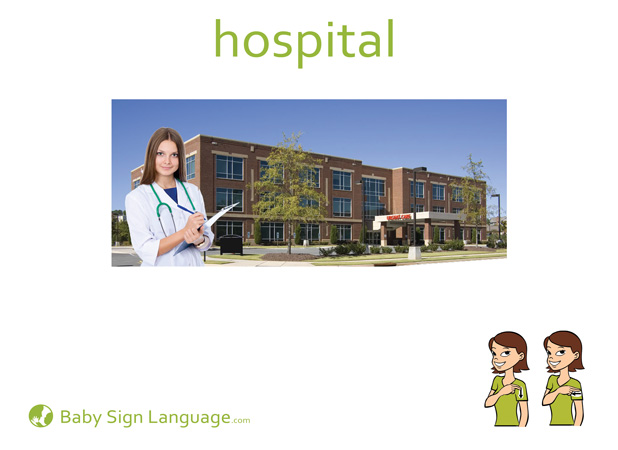 Hospital Baby Sign Language Flash card