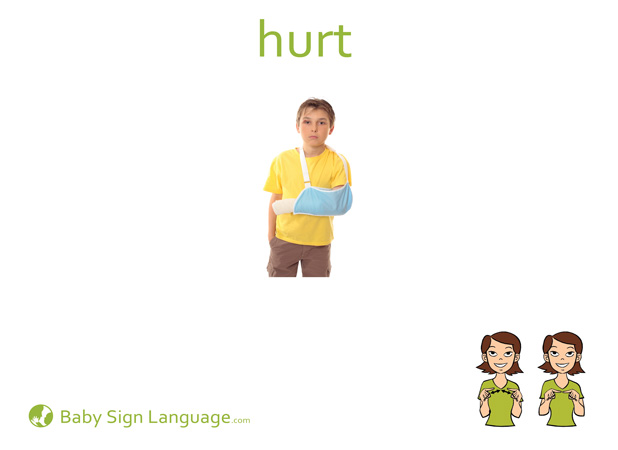 Hurt Baby Sign Language Flash card