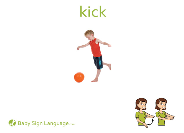 Kick Baby Sign Language Flash card