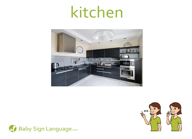 Kitchen Baby Sign Language Flash card