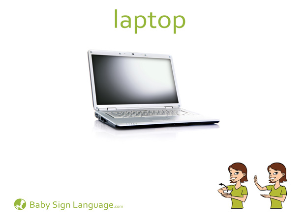 Laptop Baby Sign Language Flash card