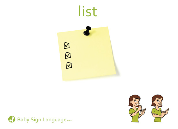 List Baby Sign Language Flash card