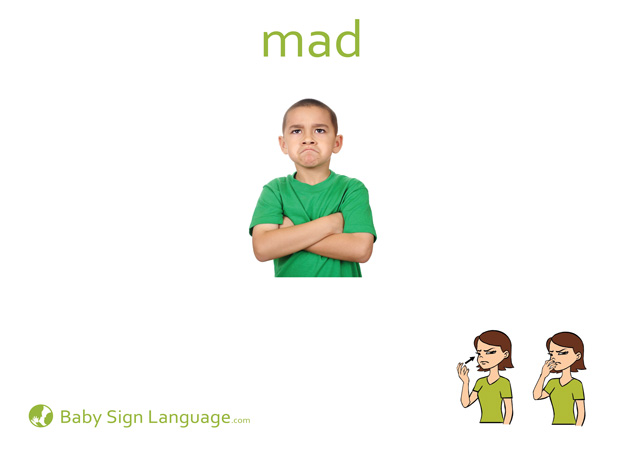 Mad Baby Sign Language Flash card