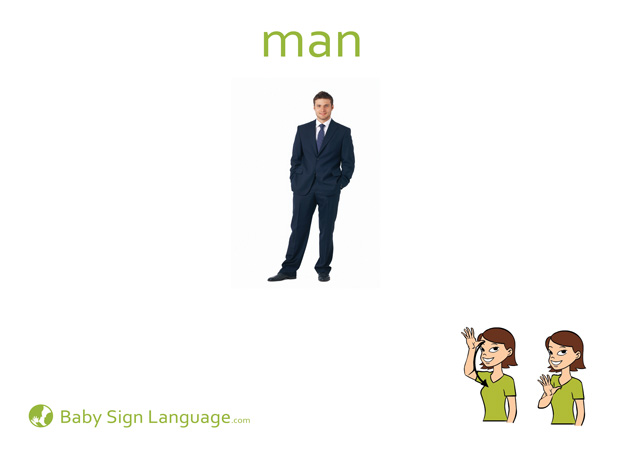 Man Baby Sign Language Flash card
