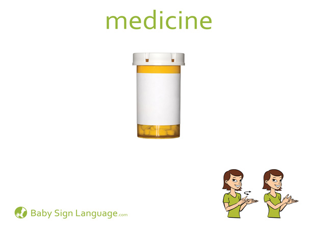 Medicine Baby Sign Language Flash card