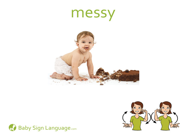 Messy Baby Sign Language Flash card