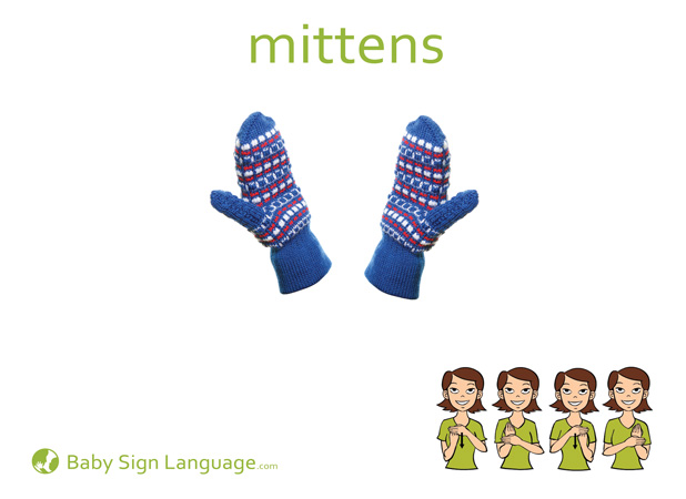 Mittens Baby Sign Language Flash card