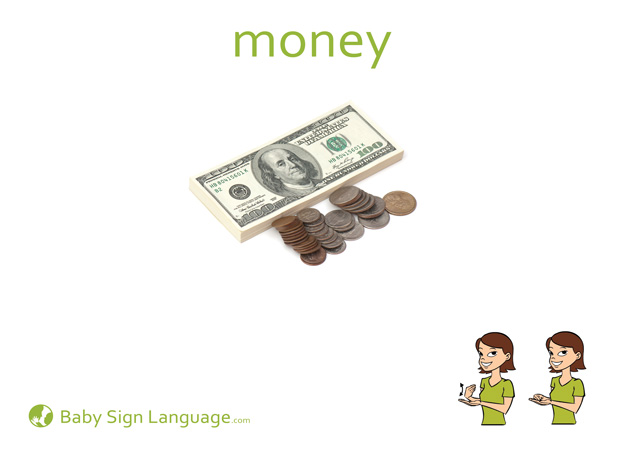 Money Baby Sign Language Flash card