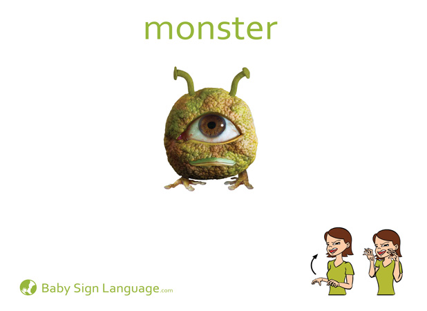Monster Baby Sign Language Flash card