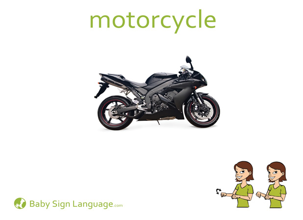 Motorcycle Baby Sign Language Flash card