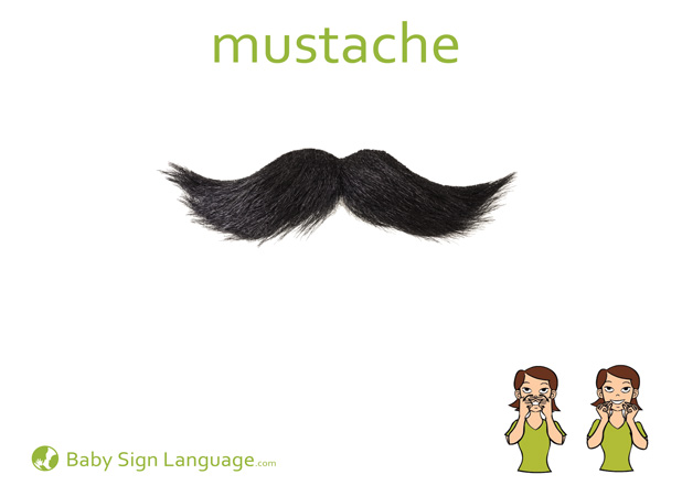 Mustache Baby Sign Language Flash card
