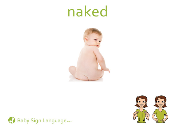 Naked Baby Sign Language Flash card