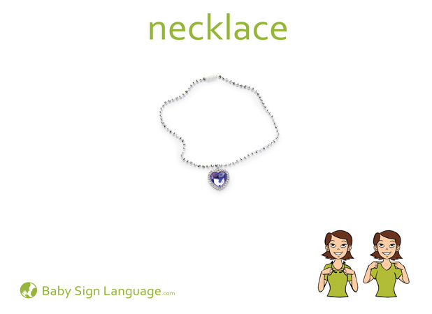Necklace Baby Sign Language Flash card