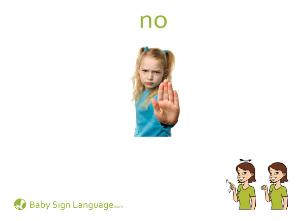 No Baby Sign Language Flash card